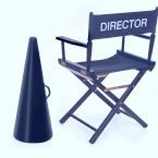 director's chair and megaphone on white background